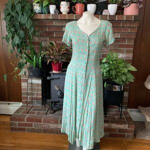 90s Floral button down babydoll grunge dress